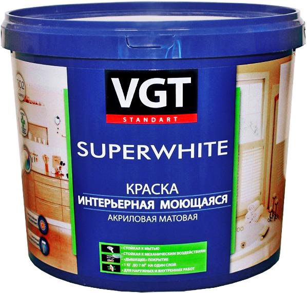 Краска ВД для наружно-внутренних работ моющаяся глубокоматовая укрывистая супербелая   VGT