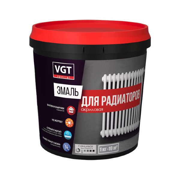 Эмаль акриловая для радиаторов батарей труб отопления без запаха быстросохнущая супербелая глянцевая VGT