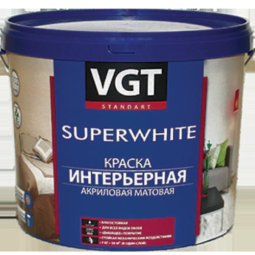 Краска ВД интерьерная акриловая глубокоматовая укрывистая супербелая VGT